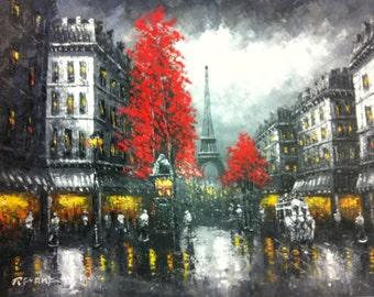 "PARIS AFTER RAIN - Original Oil Painting - 36"" x 48"" Mounted"