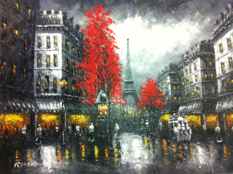 paris after rain original oil painting 36 x 48. Black Bedroom Furniture Sets. Home Design Ideas