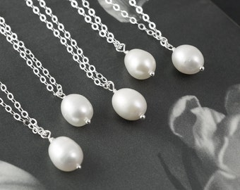 12pc bridal necklaces, white pearls, solitaire pearl necklace, bridesmaids gifts, jewelry gift sets, silver necklace