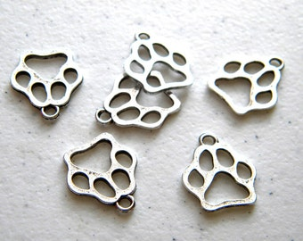 6 Silver Dog Paw Charms