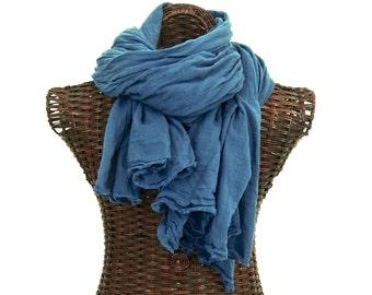 XL Nomad Scarf, Indigo Blue Scarf, Extra Large Scarf, Lightweight Indigo Cotton Scarf, Beach Wedding Mens Blue Scarf, Cotton Gauze Scarf
