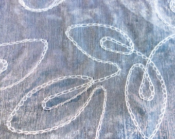 Silver Sheer Organza Fabric with Chain Embroidered Silver Abstract Vine Pattern