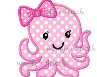 Girl octopus applique machine embroidery design
