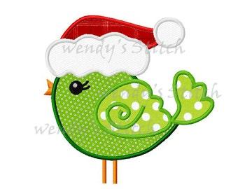 Christmas bird applique machine embroidery design digital