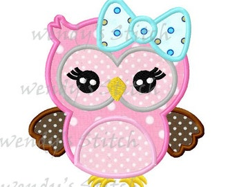 Big bow girl owl machine embroidery design digital applique