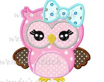 Big bow girl owl machine embroidery design digital applique