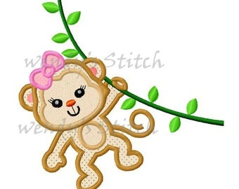 Girl monkey applique machine embroidery design digital