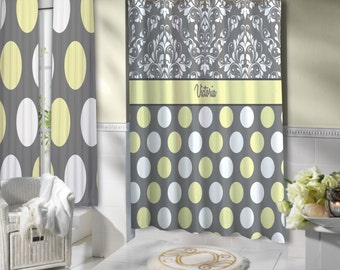 handmade yellow and gray shower curtain etsy. Black Bedroom Furniture Sets. Home Design Ideas