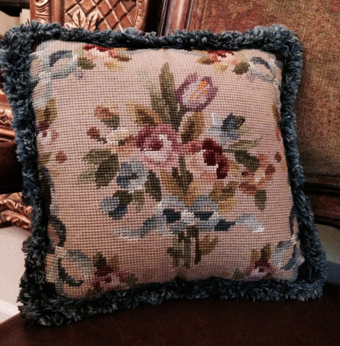Victorian Tapestry Pillows : Hand Made Antique Victorian Needlepoint Pillow by Tallulahway