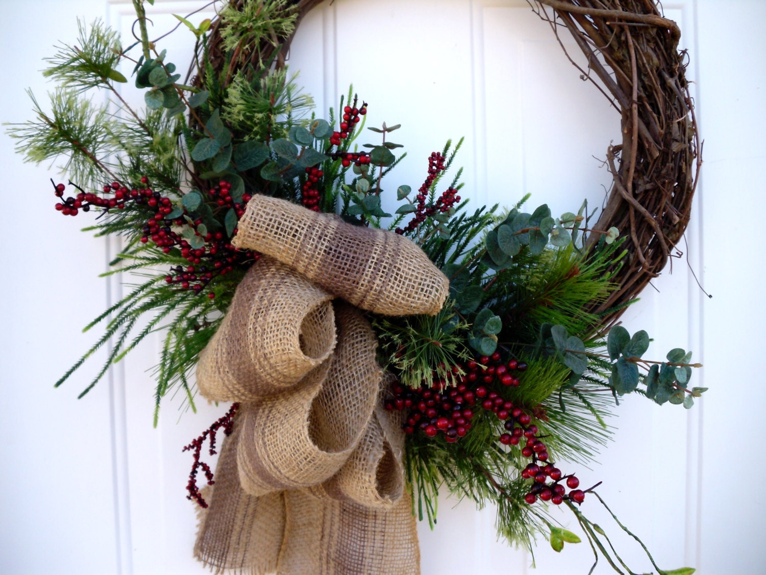 Christmas wreath with burlap bow winter holiday