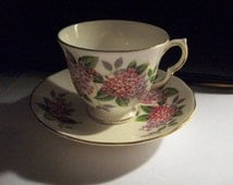 Queen Anne Bone China Pink Lilacs Cup and Saucer