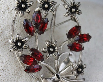 VINTAGE STERLING Flowers and Bow Brooch,MARKED