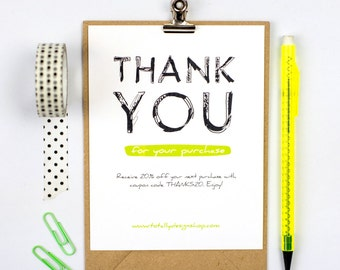 Business Thank You Cards INSTANT DOWNLOAD - Boldly Sketched