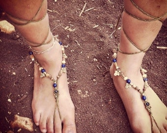 Magical lapis  -Barefoot sandals SUMMER Beach TiMe, Native American BeaUtiful wood beads ORGANIC JEWELRY