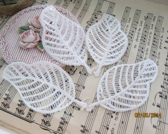"4pcs=White cotton Embroidered Leaves/NA10-3""Leave applique/Applique"