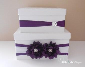Wedding gift card box / Wedding card box / Wedding money box / Wedding card holder / 2 Tier (White & Purple)
