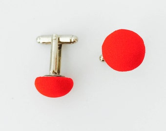 Red Fabric Button Cuff Links | Great Gift for Dad, Brother, Boyfriend.  Hand Made in the USA