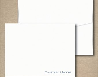 Personalized Stationery Folded Note Cards Set - SIMPLY STATED FOLDED - Set of 12 Folded Personalized Mens Stationery / Stationary note cards