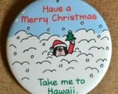 Vintage Cartoon Christmas Pinback Button