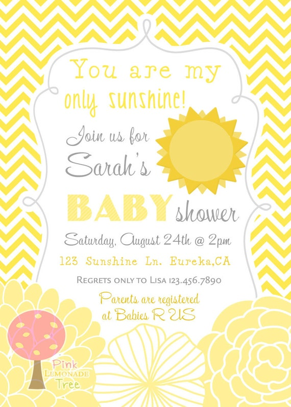 you are my sunshine baby shower invitation gender neutral yellow