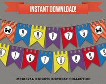 Medieval Knights Party Printable Birthday Banner with Spacers - Editable PDF file - Print at home