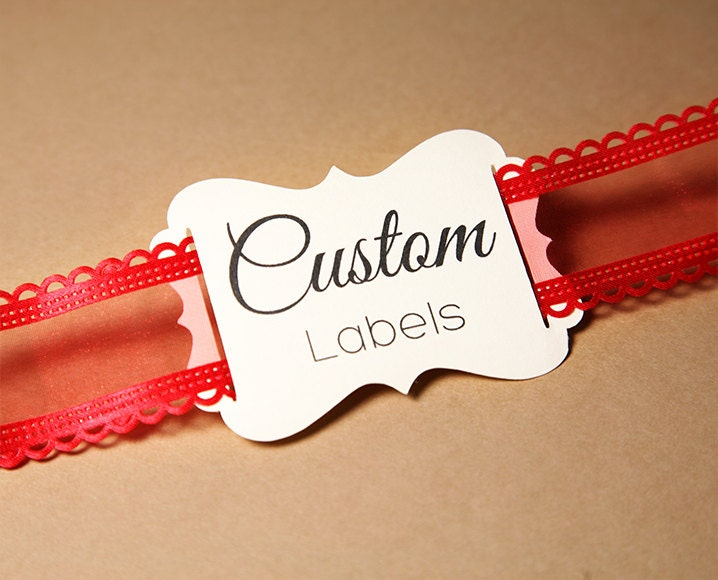 Wedding Favor Ribbon Tags : Custom Labels Ribbon Slider Labels 2.4 3.5 Die Cut by Artision