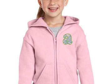 Custom Monogrammed Zebra Initial Full Zip Fleece Hoodie For Youth Toddler Girls or Boys - Many Colors Personalized Just for You!