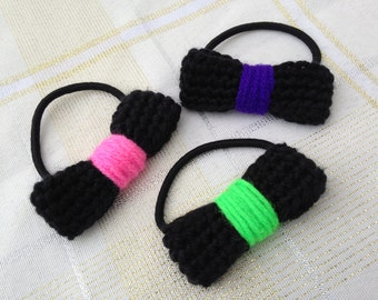 Bow Hair Ties , Set of 3 colorful neon and black hair accessories