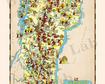 Pictorial Map of Vermont - colorful fun illustration of vintage state map