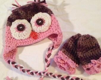 Owl Hat & Mittens Set