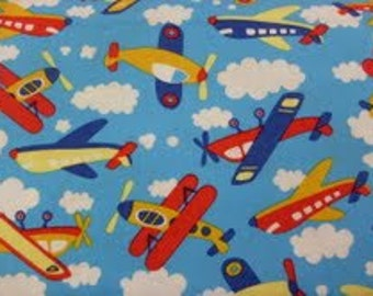 Flying high airplanes fabric by the half yard kids sky for Airplane fabric by the yard