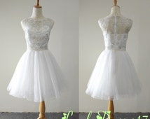 Luxurious Beaded White Ball Gown Round Neckline Mini Prom/Homecoming/Cocktail Dress