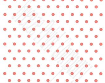 White with coral polka dots craft  vinyl sheet - HTV or Adhesive Vinyl -  polka dot pattern   HTV37