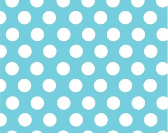 Aqua with white dots craft  vinyl sheet - HTV or Adhesive Vinyl -  large white polka dot pattern HTV729