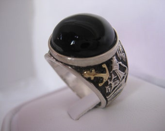Sailboat Onyx 18K Solid Gold Silver Ring