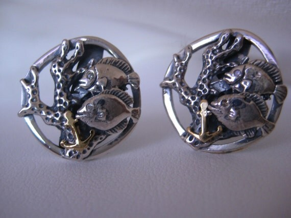 Coral fish cufflinks 18k solid gold sterling silver for Solid gold fish