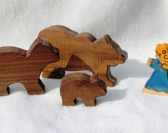 Goldilocks and the Three Bears Wooden Toy - Natural Eco Friendly Waldorf Wooden Toy Storytelling Set