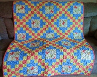 Wall Quilt or Lap Quilt, Blue, Yellow and Orange with Butterflies