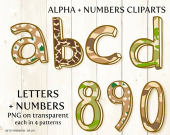 Alphabet clip art, letters and numbers, safari, camouflage, jungle, number clipart,  Scrapbook supplies  - BR 291