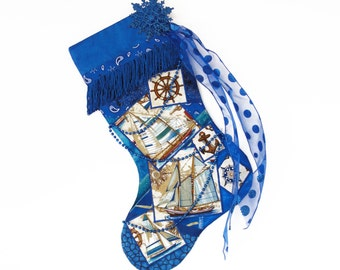 Sailboat Christmas stocking, a custom handmade one-of-a-kind holiday decoration