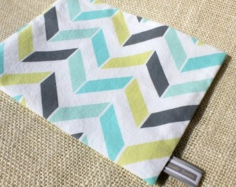 Teal/Mint/Yellow/Grey Geometric Chevron  snack Bag- Ready to ship!