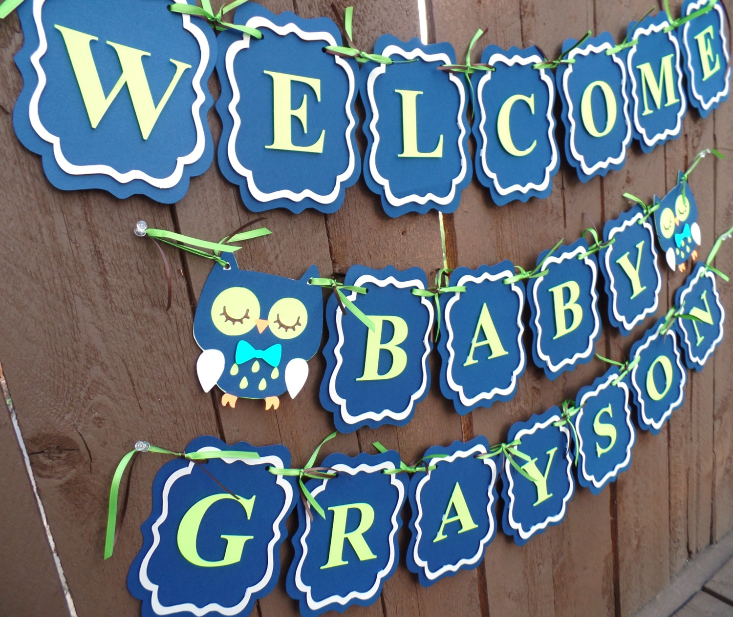 Owl baby shower banner welcome baby banner blue by for Welcome home baby shower decorations