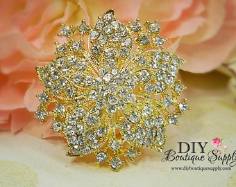 Gold Crystal Brooch - Wedding Brooch -  Bridal Accessories - Rhinestone Brooch Bouquet - Bridal Brooch Sash Pin 50mm 373220