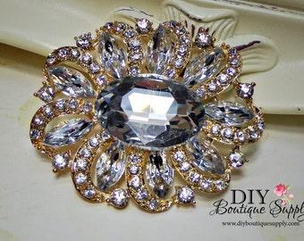 Large Gold Rhinestone Brooch - Gold Wedding Brooch Pin - Crystal Brooch pin- Bridal Wedding Accessories Cake Brooch Sash Pin 65mm 682198