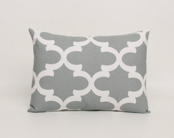 12x16 or 12 x 18 Lumbar Pillow Cover in Gray Cushion Cover Gray and White Throw Pillow Cover Gray Pillow Sham Fynn