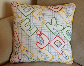 Charming Vintage Childs' Play ABC Cushion Cover