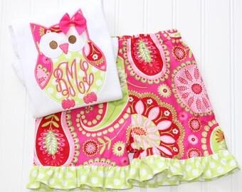 Monogrammed Owl Outfit, Monogrammed Owl Short Set