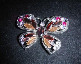 Beautiful Vintage Monet Multi-color Rhinestone Butterfly Brooch