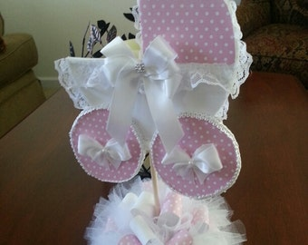 Pink And White Baby Carriage Centerpiece / Baby Shower Centerpiece / Unique Baby  Shower Centerpiece