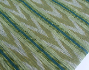 Green Ethnic Fabric (#17) from Guatemala with Ikat design sold by yard